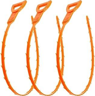 Vastar 19.6 Snake Hair Drain Clog Remover Cleaning Tool, 19.6 Inch, Orange, 3 Pack