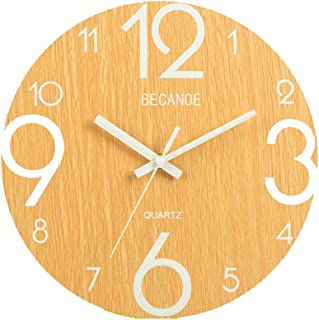 BECANOE 掛け時計 ウオールクロック 木製 サイレント 連続秒針 夜光 大文字 アナログ クロック インテリア