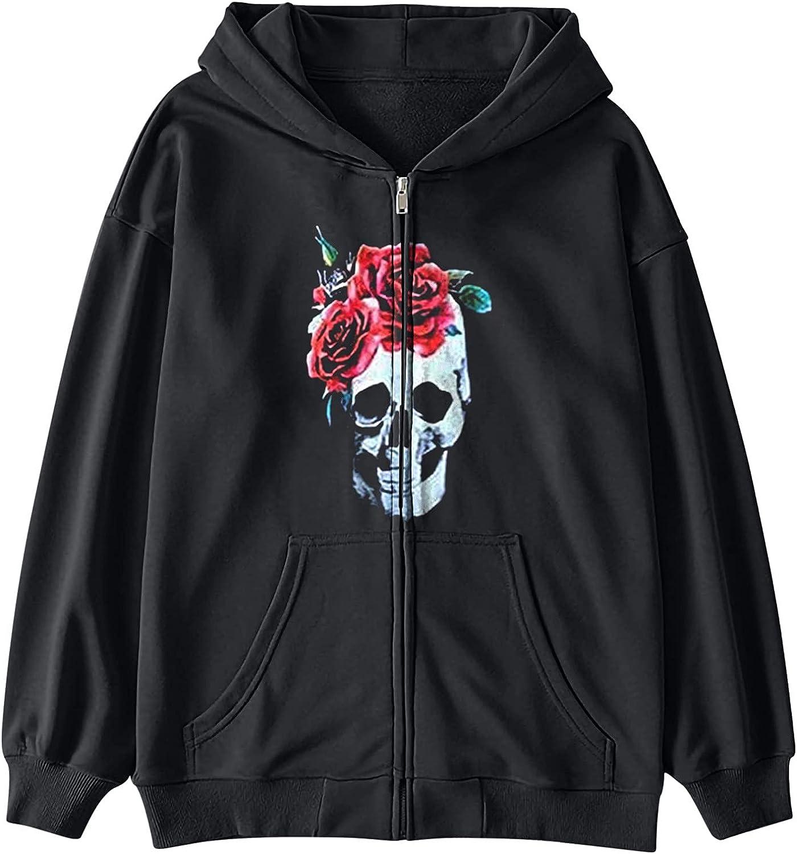 Women Zip Hoodie Sweatshirt Drawstring Long Sleeve Coat Punk Vintage Streetwear Raincoat