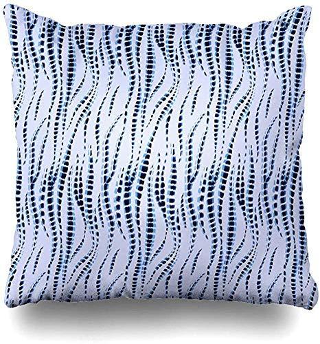 N / A Almohada Cubierta Unisexo Tirar Almohada Cojin Hippie Blue Boho Tie Dye Pattern Ikat Efecto De Acuarela Shibori Batik Technique Ethnic Navy Design Print Two Sides Home Decor,45X45cm