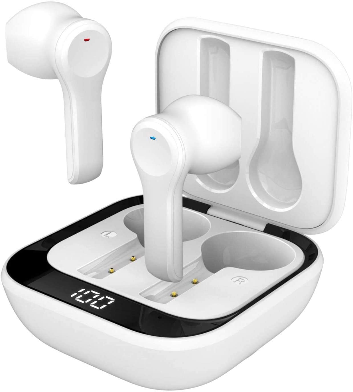 Wireless Earbuds, TWS Bluetooth 5.0 Headphones with Charging Case, Touch Control Waterproof Sports Earphone with Mic Stereo Bluetooth Headset Type-C Charging 24H Playback for Home,Office (White)