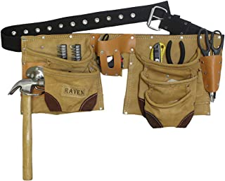 11 Pocket Brown Split Premium Leather Tool Pouch | Conventional Belt