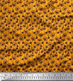 Soimoi Orange Seide Stoff künstlerisch Blumen- Stoff