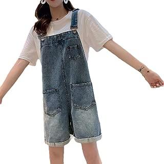 XINHEO Women's Denim Big Pockets Hemming Suspenders Wide Leg Short Overalls