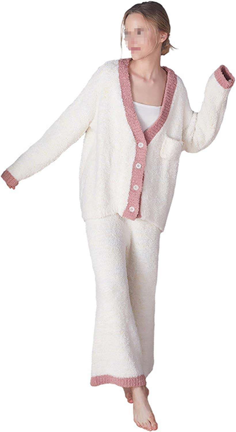 Plush Sexy Ladies' Pajamas Night Gown Autumn and Winter Cardigan Long Sleeve Trousers Suit Casual Wear