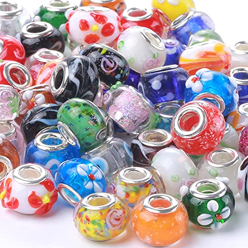 Weebee Murano Glass Beads Large Hole Beads Silver Plated European Glass Lampwork...