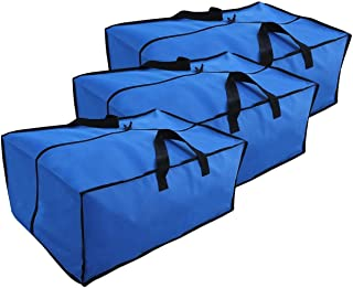 EarthWise Storage Bags Extra Large Heavy Duty Reusable Moving Totes w/Zipper Closure Backpack Carrying Handles - Compatible with IKEA Frakta Hand Carts Boxes Bin (Blue - 3 Pack - Large)