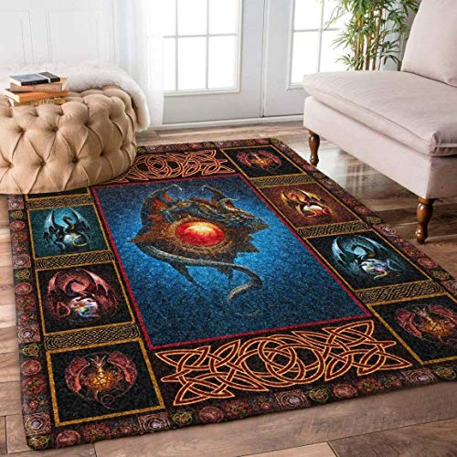 Celtic Dragon Rug Area Rug for Bathroom, Kitchen and Living Room Decor with(2x3, 3x5, 4x6, 5x8) Size