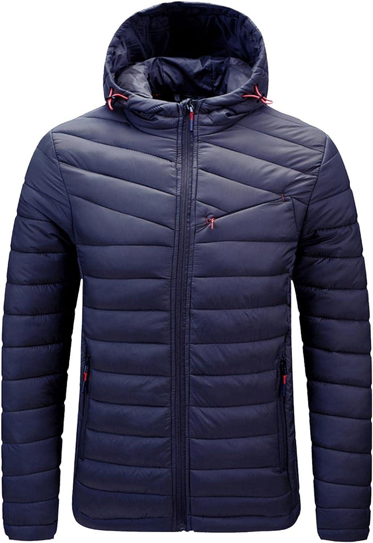 Puffer Jacket for Men Casual Solid Zipper Pocket Lightweight Water-Resistant Long Sleeve Coat Hooded Parkas Warm Coat