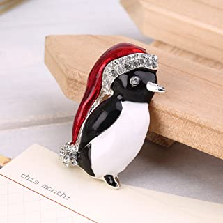 Hemore Weihnachts-Brosche Pinguin mit Strasssteinen, Party-Dekoration