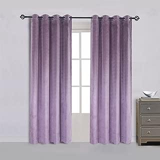 Super Soft Luxury Velvet Set of 2 Lavender Flannel Blackout Curtains Panel Drapes Grommet Draperies Eyelet 52Wx72L inch Purplish Pink(2 panels)
