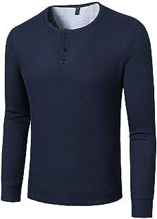 MakingDa Mens Plain Collarless Henley Basic Shirt Long Sleeve Tops Casual Smart T Shirt Lightweight Slim Fit Button Placke...