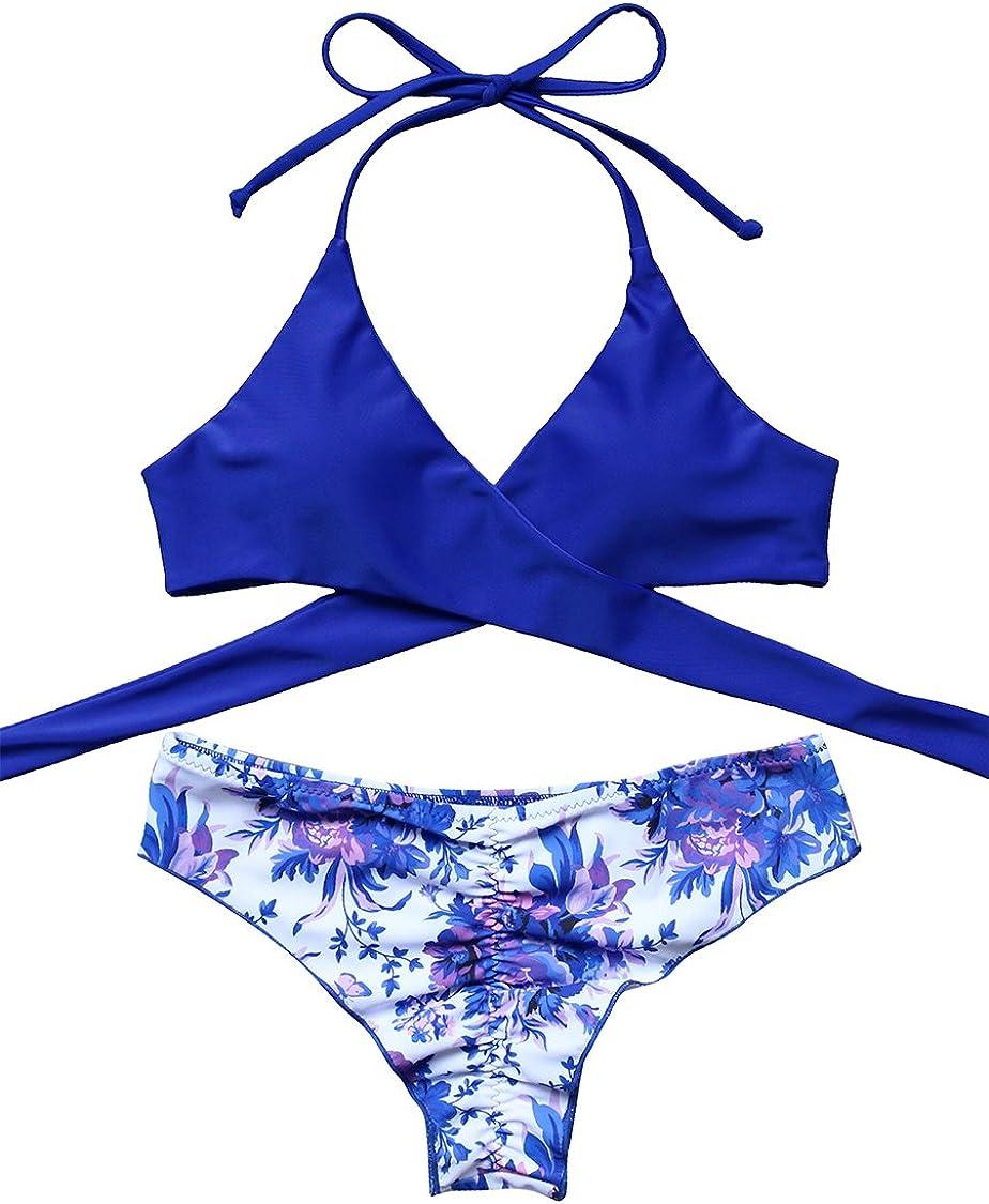 MOSHENGQI Women Front Cross Halter Push up Bikini Floral Bottom 2 Piece Cute Swimsuits