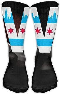 シカゴの旗W 3Dの印刷の防臭剤の実行の長い靴下の運動靴下