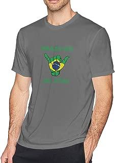 Brazil BJJ Shaka Hand Athletic Men's Performance Cotton Short Sleeve T-Shirt Black