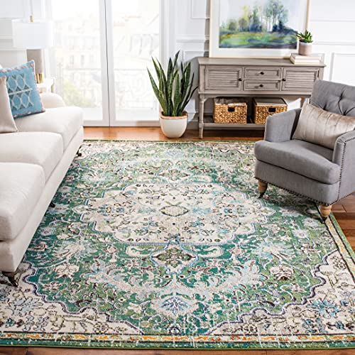 Safavieh Madison Collection MAD447Y Boho Chic Medallion Distressed Non-Shedding Stain Resistant Living Room Bedroom Area Rug, 6' x 9', Green / Turquoise