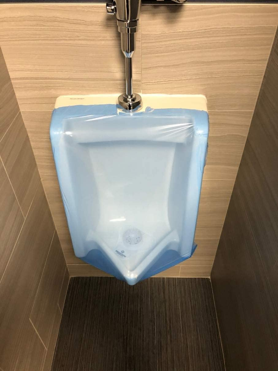 Toilet Gorgeous Wrap Blue Out-of-Order Urinal Made Cover Selling in USA Film