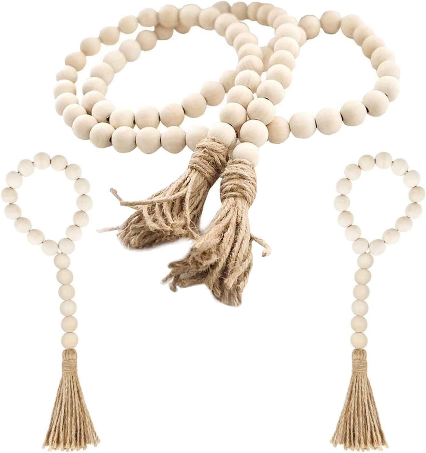 Taufey Wood Bead Garland with NEW before selling ☆ Prayer Opening large release sale Tassels Wooden Set Natural