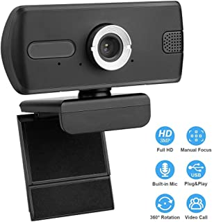 Webcam with Microphone, HD 3MP Webcam with 110° Wide View Angle,USB 2.0/3.0 PC Laptop Desktop Webcam for Video Calling, Studying, Conference, Recording