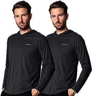 Men's Sun UV Protection Hooded Long Sleeve T-Shirt,Running SPF Athletic Surfing Swimming Rash Guard Tourism Top Shirts