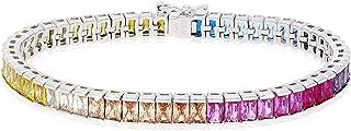 "925 Sterling Silver 6mm Multicolor Rainbow CZ Tennis Bracelet 7.25"""