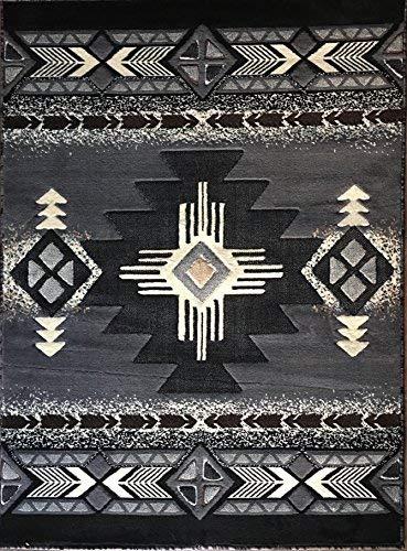 Southwest Native American Area Rug Grey & Black Design C318 (8 Feet X 10 Feet)