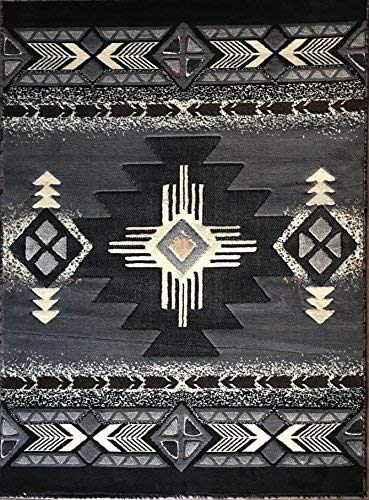 Concord Global Trading Southwest Native American Area Rug Grey & Black Design C318 (8 Feet X 10 Feet)