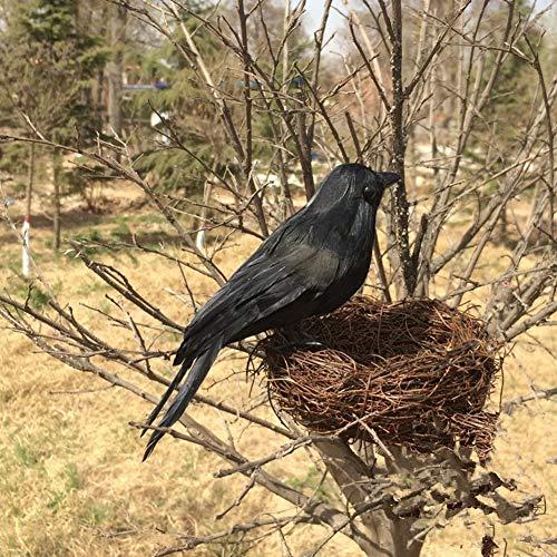 Delaman gevederde kraaien realistisch uitziende Raven, vogels zwart gevederde kraaien, Halloween Prop Décor,Spooky Party Home Decor