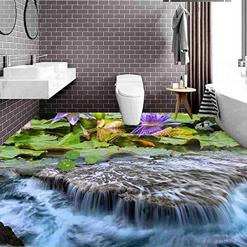 Custom 3D Floor Mural Wallpaper Cascada Lotus Fish Pond Baño Cocina Etiqueta De Piso Impermeable Autoadhesivo Wall Decals-200X140Cm Azulejos De Suelo 3D Murales Pegatinas Cuarto De Baño Vinilo Autoa