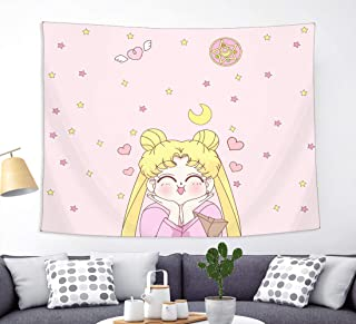 Japanese Anime Sailor Moon Tapestry Wall Hanging Girls Home Decorations for Living Room Bedroom Dorm Pink 50 x 60