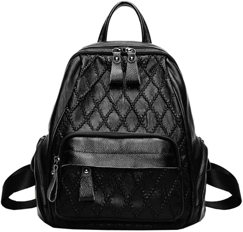 Hulday Handtasche Damenmode Diamant Weichen Pu Leder Reiserucksack Dame Gre Kapazitt Einfacher Stil Reiverschluss Schule Daypack Tasche Laptop College Rucksack, (Farbe   Schwarz, Größe   M)
