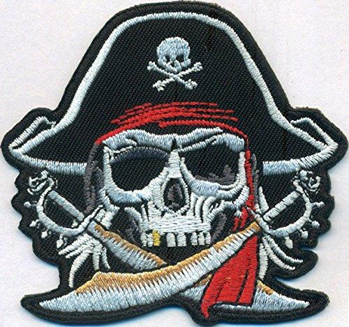Cabeza Pirata Capitn Captain cruzado sebel Calavera Disfraz parche para planchar