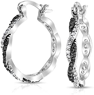 Black White Spiral Infinity Twist Cubic Zirconia Pave CZ Prom Fashion Hoop Earrings For Women Silver Plate Brass 1.5 In