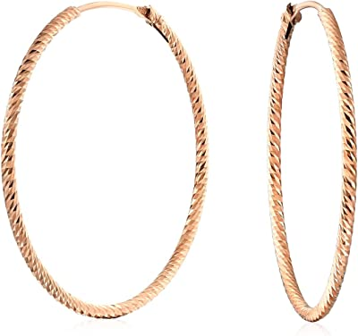 Diamond Cut Twist Round Endless Continuous Thin Tube Hoop Orecchini per donna Rosa Oro Placcato Argento Sterling 1.25 In