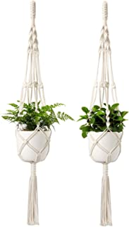 Mkono Macrame Plant Hangers with Pots 6.5 Inch Plastic Planter Included Indoor Hanging Planters Basket Holder (2 Plant Hangers and 2 Flower Pots) 41-Inch