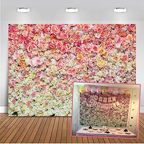 Mehofoto Flower Wall Backdrop 7x5ft Colorful Roses Flower Sea Floral Photography Background for Wedding,Infant,New Born,Baby
