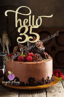 Hello 35 Number Cake Topper