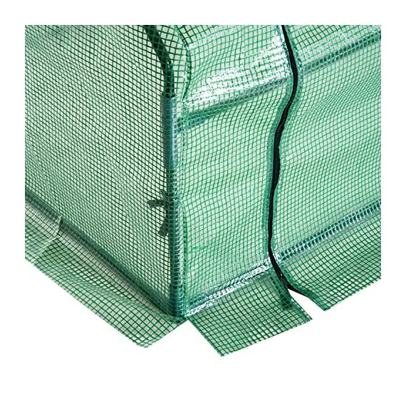 Outsunny 9' l x 3' w x 3' h portable tunnel greenhouse outdoor garden mini hot house with large zipper doors, water/uv… 9 ✅protect plants from the elements: bring all of your plants together in a unified and protected space with our garden greenhouse. Having everything in one place means our plant nursery helps you manage and grow your plants, fruits, vegetables, and flowers all year round. ✅updated design with 3 large doors: the 3 side doors of our plant nursery can be completely opened and rolled up with ties, thereby making a larger space & creating better ventilation. ✅let and keep the good stuff in: this small hot house features a pe mesh grid cover that is sun and water fighting to help protect plants while allowing nourishing sunlight to pass through. Furthermore, the cover helps retain heat during colder months.