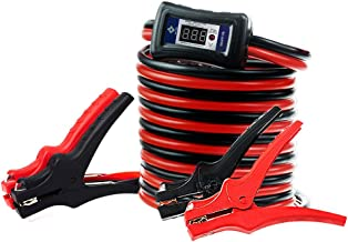 NoOne Jumper Cables, 4 Gauge 18 Feet LED Light Booster Cables with Digital Voltmeter & Alarm Signal Reverse Hookup