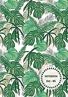 Dot Notebook B5: Green-White-Pink, Tropical Leaf Design, Softcover, Dotted Grid, Numbered Page, Medium,  Journal (Journal Notebook Dots)