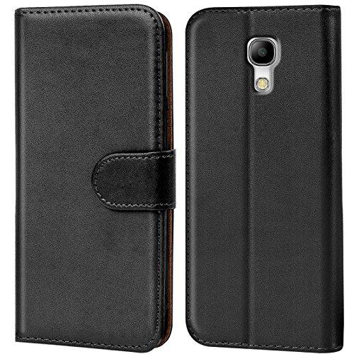 Conie Handyhülle für Samsung Galaxy S4 Hülle, Premium PU Leder Flip Case Booklet Cover Weiches Innenfutter für Galaxy S4 Tasche, Schwarz