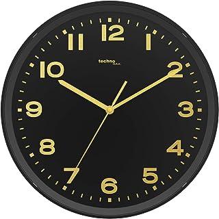 Technoline WT8500 Analogue Radio Controlled Wall Clock Gold/Black, 30 cm Ø
