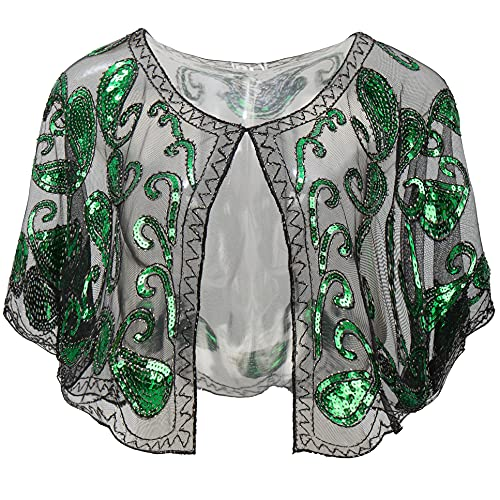 BABEYOND 1920s Shawl Wraps Sequin Beaded Evening Cape Bridal Shawl Bolero Flapper Cover Up (Green)