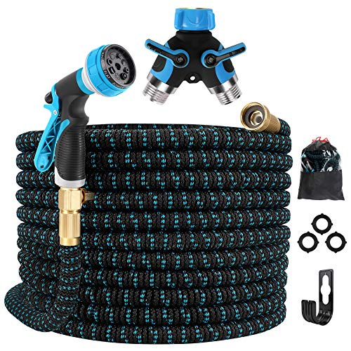 Gpeng Expandable Garden Hose 100ft Water Hose with 8 Function Spray Nozzle, Kink Free Flexible Hose with Solid Brass Fittings, Extra Strength Durable Lightweight Expanding Yard Hose Wash Hose Pipe