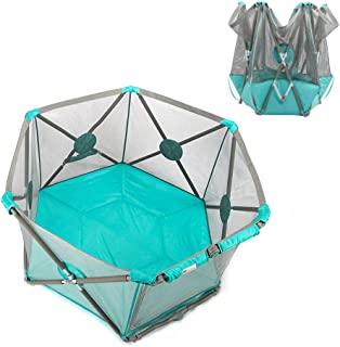 Portable Playpen 6-Panel Foldable Playard for Infants Lightweight Safety Lock and Carry Case  Easily Opens with Hand  Blue