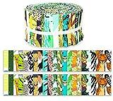 Soimoi 40 Unids De Impresión Tropical De Algodón Telas De Precorte Para La Acolchado Tiras De Artesanía De 2.5 Pulgadas Rollo De Jalea - Negro Y Verde