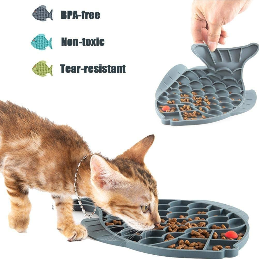Fun Alternative to Slow Feeder Cat Bowl IQ Treat Mat Anxiety Relief Fish-Shaped Cat Slow Feeder Pet Lick Mat Cat Puzzle Feeder for Dogs /& Cats