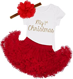Newborn Infant Baby Girls Red Christmas Outfit Costumes Romper Bodysuit with Tutu Skirt Headband Set