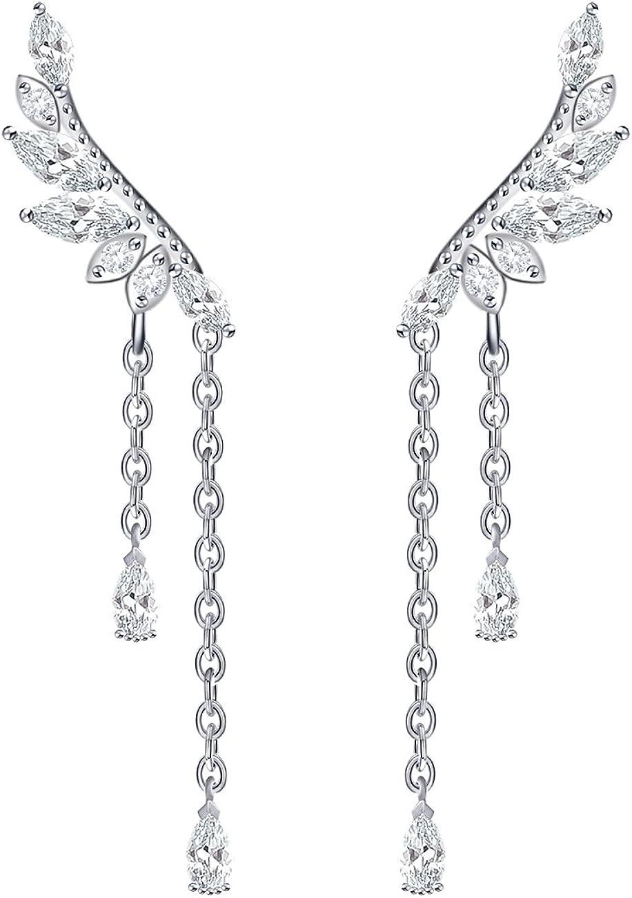 YOQUCOL Angel's Wings Cubic Zirconia Crystal Ear Climber Long Drop Dangle Earring for Girls Women