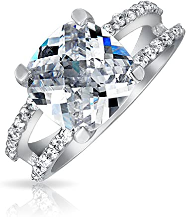 8ff852cdd82d69 3CT Square Princess Cut AAA CZ Engagement Ring For Women Cubic Zirconia  Split Pave Shank Band